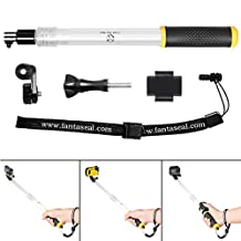 Fantaseal® Floating Extension Pole for Waterproof Camera Underwater Camera GoPro Action Cameras Floating Hand Grip Floaty Holder Pole Telescopic Extendable Pole Selfie Stick for Canon PowerShot D10 D20 Casio EXILIM EX-FR100 EX-FR200 Fisher-Price Kid-Tough Fujifilm FinePix XP50 XP60 XP70 XP75 XP80 XP85 Kodak EasyShare Sport C123 SP360 Ion Air Pro 1 Air Pro 2 Air Pro 3 Contour ROAM Ivation Knox Olympus + GoPro SJCAM Garmin Xiaomi Yi SONY Action Cam - Extendable from 35.3 to 60cm w/Remote Holder