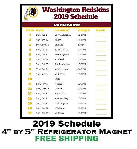 photograph about Redskins Printable Schedule titled : Washington Redskins NFL Soccer 2019 Plan