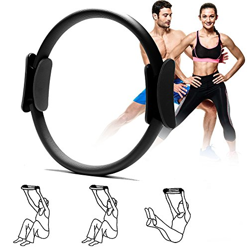 Heckia Pilates Magic Ring, Pilates Resistance Fitness Ring 14'' Exercise Fitness Circle Full Body Toning Ring for Women, Black by Heckia (Image #4)