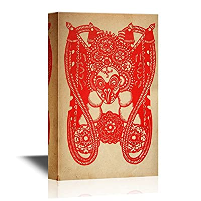 Chinese Culture Canvas Wall Art - Chinese Paper Cutting of The Monkey King - Gallery Wrap Modern Home Art | Ready to Hang - 12x18 inches