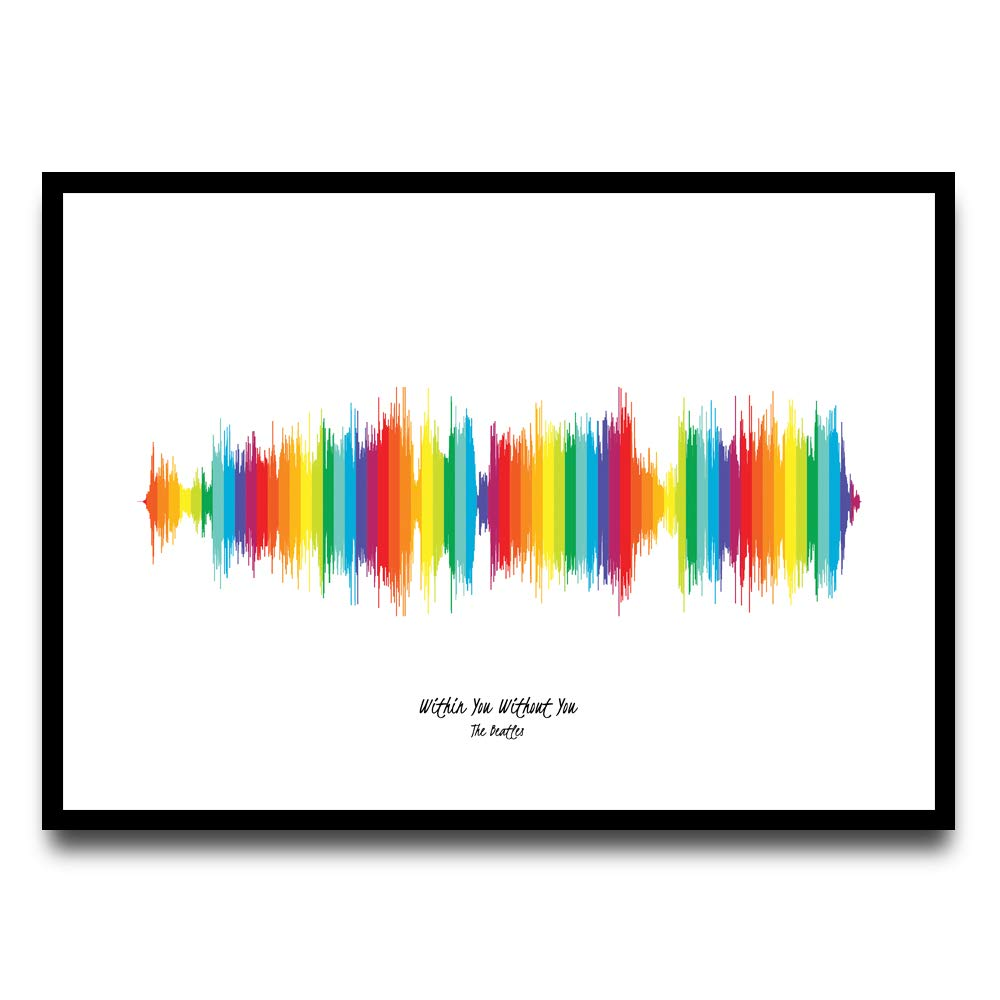 Excellent Gift! A3 Personalised Music Sound Wave Song Framed Poster Print Cyan