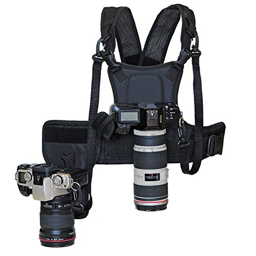 Nicama Dual Camera Strap Multi Carrier Chest Harness Vest with Mounting Hubs, Side Holster & Backup Safety Straps for Canon 6D 5D2 5D3 Nikon D800 D810 Sony A7S A7R A7S2 Sigma Olympus DSLR Cameras by Nicama