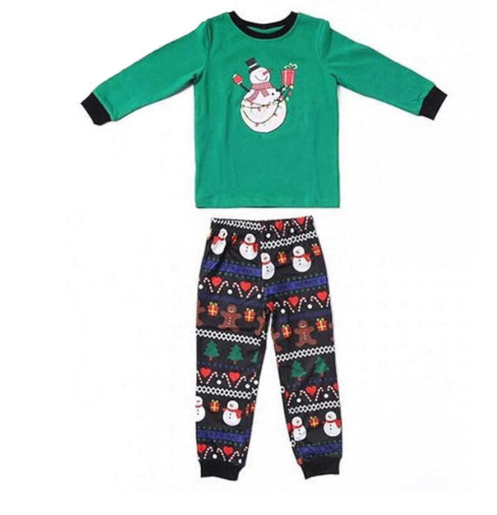 hujukuludusu Family Matching Xmas Pajamas Set Christmas Snowman Sleepwear Nightwear