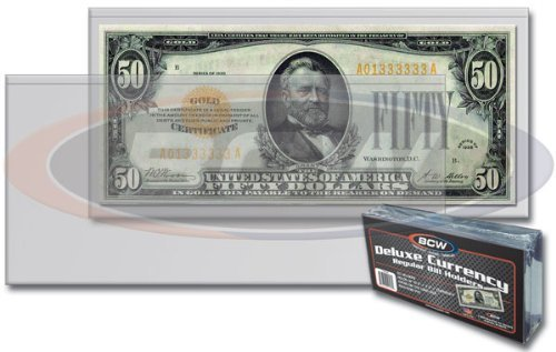10 Ct. BCW Currency Top Loaders TLCH-RB Rigid Holders For Regular Bills Plus 10 Ct. Regular Bill Sleeves