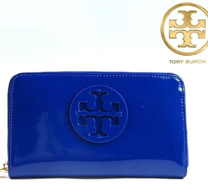 f81e1342e Tory Burch Stacked Patent Zip Purse Royal Blue RRP £175  Amazon.co.uk   Clothing