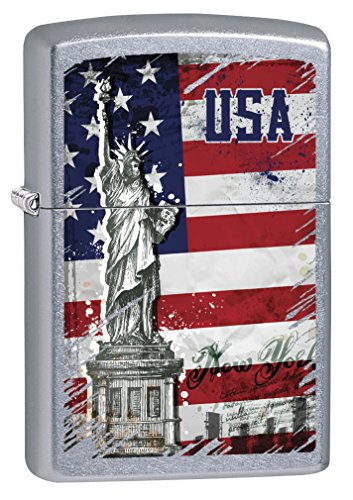 Zippo Lighter: Statue of Liberty and American Flag - Street Chrome ()