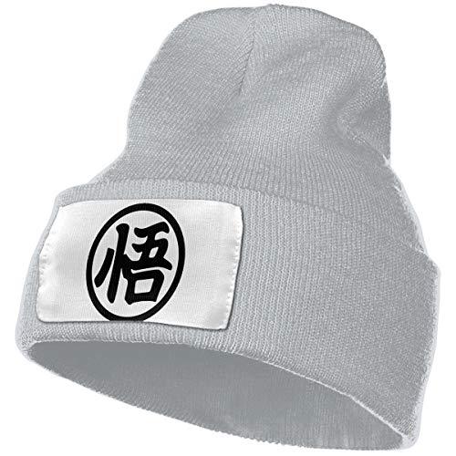 Enghuaquj Goku Kanji Knitted Hat Cap Beanie Gray