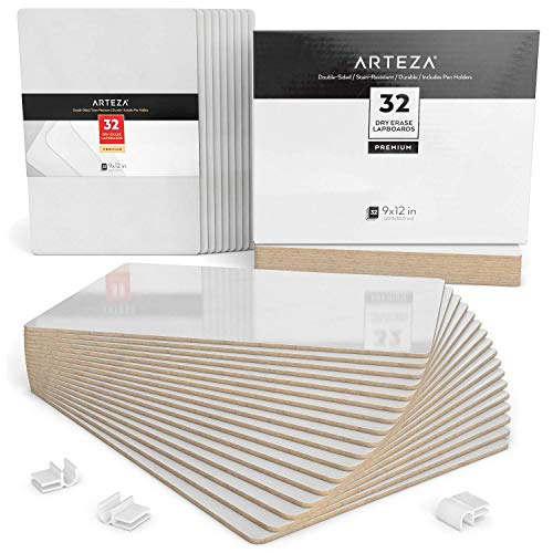 - ARTEZA Small White Board, Bulk Set of 32 Double Sided Dry Erase Lapboards 9x12 in Perfect for Teachers, Students, and Office Work