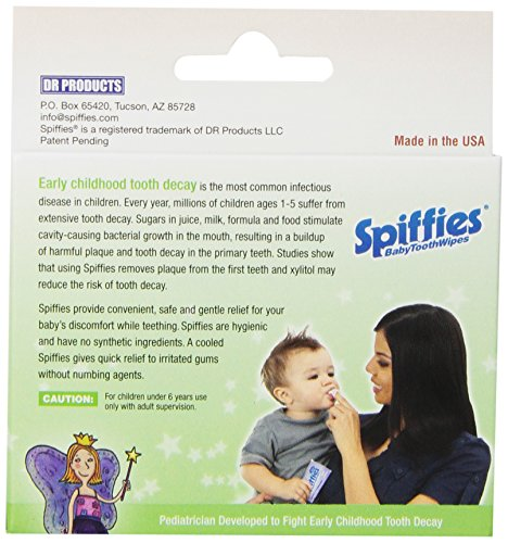 Spiffies Tooth Wipes, Apple Flavor (Pack of 60)