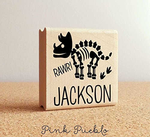 Square Personalized Rubber Stamp - Dinosaur Bones Rubber Stamp for Kids, Personalized Dinosaur Stamp for Children