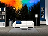 wall26 - Colorful Red Yellow and Blue Powder Flying in the Air - Removable Wall Mural | Self-adhesive Large Wallpaper - 66x96 inches