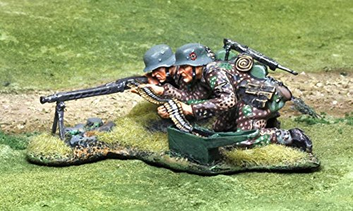 WWII Toy Soldiers German Waffen SS MG42 Team with 2 Figures Collectors Showcase Toy Soldiers Painted Metal 1/32 CS00806 Britains Thomas Gunn King and Country Type (Waffen Ss Best Soldiers)