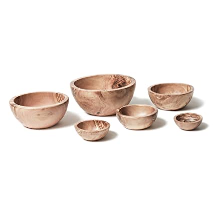 Berard Olive Wood Handcrafted Bowl Set Of 6