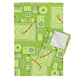 Roostery Technology Tea Towels Stereophonic Lime by Thirdhalfstudios Set of 2 Linen Cotton Tea Towels
