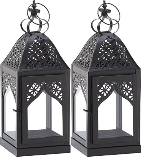 2 Black Steeple Candle Holder Lantern We - Dancing Squares Natural Shopping Results