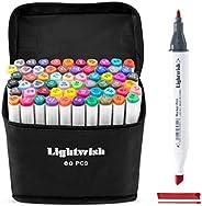 Marcadores de desenho artístico de álcool da Lightwish, marcadores com ponta dupla à base de álcool e bolsa de