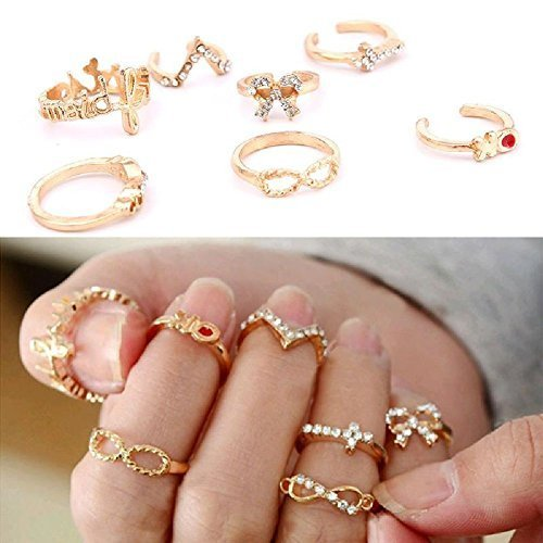 Fashion-Personality-7Pcs-Gold-Rhinestone-Bowknot-Cross-Women-Rings-Set