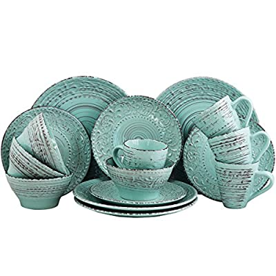 Elama ELM Malibu Waves 4-Piece Dinnerware Set in Turquoise