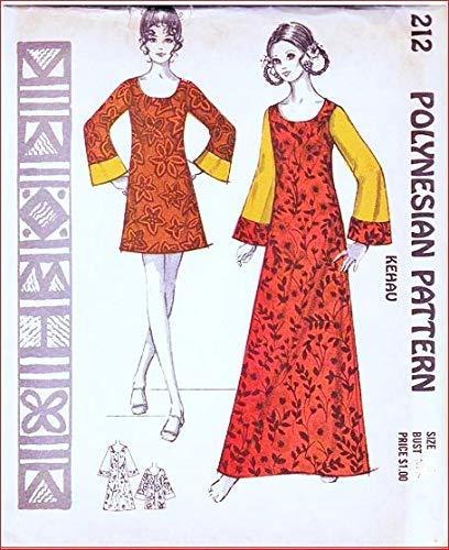 Polynesian Pattern 212 Kehau Muu Muu, Maxi Dress, or Tunic Hawaiian, Vintage 1970's Sewing Pattern