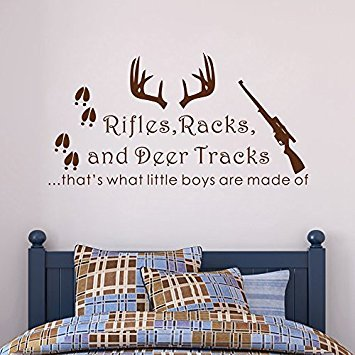 Wall Decal Decor Rifles Racks, Deer Tracks That's What Little Boys Are Made Of - Baby Boy Nursery Decor - Hunting Theme Camo Deer Room Crib(Dark Brown, 12