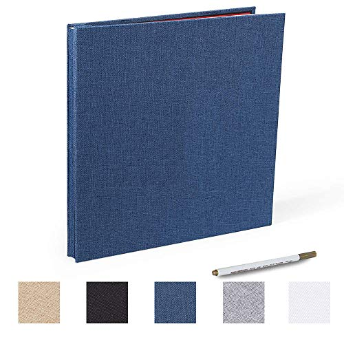 Self Adhesive Photo Album Linen Magnetic Scrapbook 40 Pages with a Metallic Pen (Linen Bleu, 11x10.6 inches)