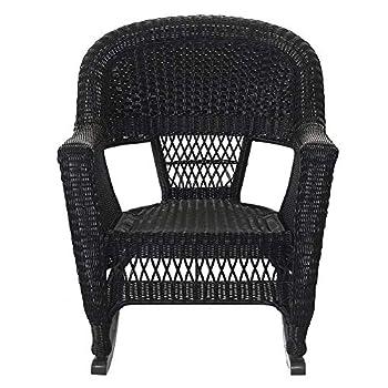 Jeco W00207R-D_2, Set of 2 Wicker Rocker Chairs, Black