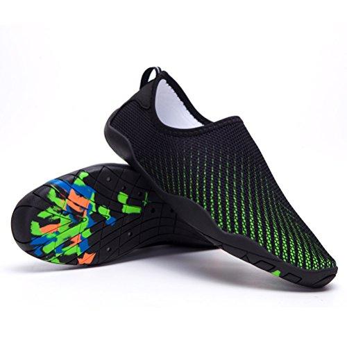 Skysun Eau Chaussures Hommes Femmes Pieds Nus Peau Aqua Eau Chaussures Séchage Rapide Pour Nager, Yoga, Lac, Plage, Plongée En Apnée, Canotage, Surf Skw1001-1-bk / Gn