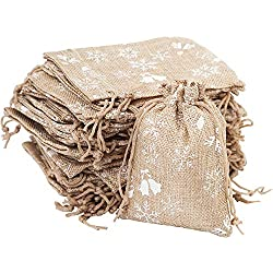 30pcs Burlap Bags with Drawstring Christmas Jingle Bell Snowflake Gift Pouches Jute Candy Jewelry Storage Package Sack for Wedding Bridal Shower Birthday Party Valentine's Day Favors DIY Craft