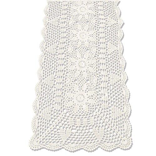 KEPSWET Sunflower Rectangle Handmade Crochet Lace Table Runner Floral Wedding Decoration (14x60 inch, Beige) ()