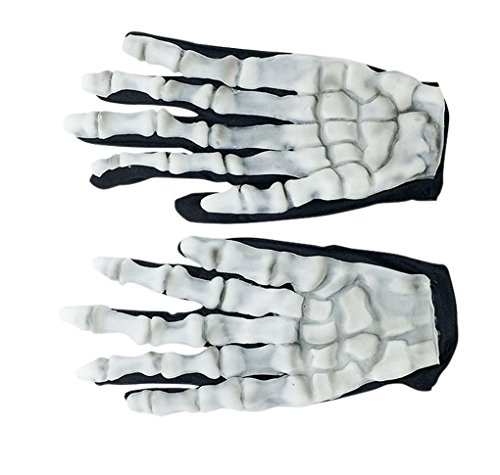 [Sunward(TM) Halloween Skull Bone Silicon Rubber Skeleton Goth Racing Full Finger Gloves] (Different Types Zombie Costumes)