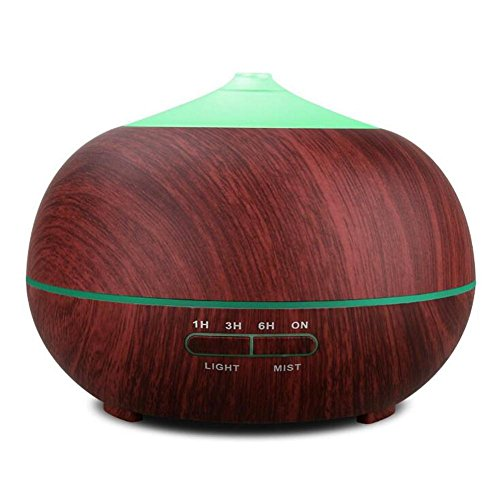 Essential Oil Diffuser BS-103 Ultrasonic Mute Humidifier Aromatherapy Indoor Air Purification LED Color Night Light No Water Automatic Shutdown Timer 400ml , Wood grain by BIGSELLER (Image #7)