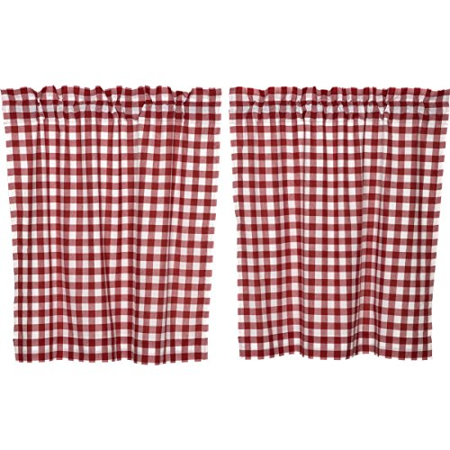 (VHC Brands 9458 Buffalo Red Check Tier Lined Set of 2 L36xW36)