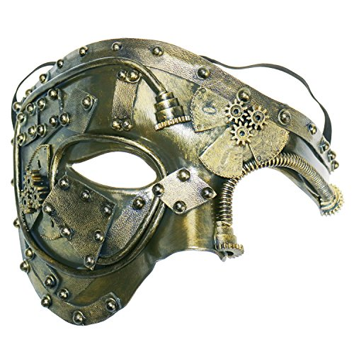Coddsmz Masquerade Mask Steampunk Phantom of The Opera Mechanical Venetian Party Mask(Antique Gold)]()