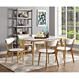 Walker Edison 60'' Retro Modern Wood Dining Table, White