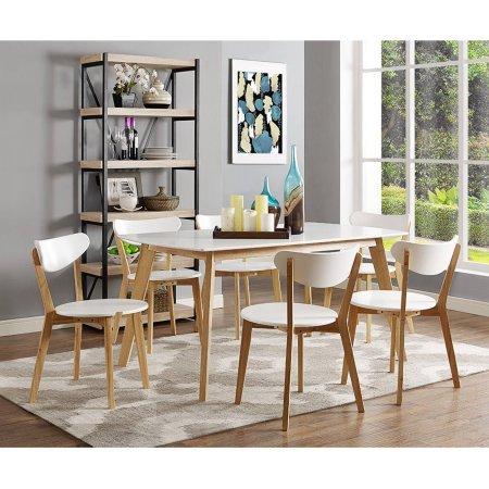Walker Edison 60″ Retro Modern Wood Dining Table, White Review