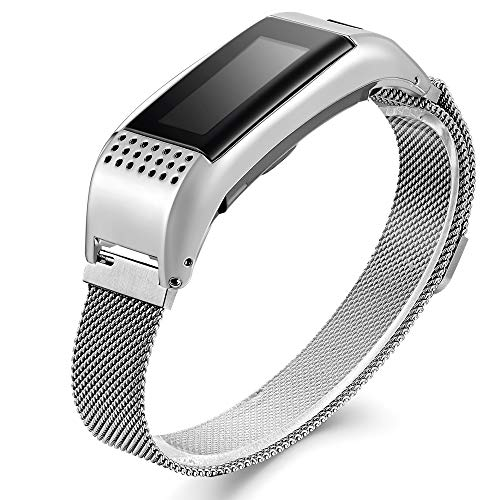 Compatible Garmin Vivosmart HR+ Bands, Accessory Metal Band with Case Watch Replacement Strap Wrist Band for Garmin Vivosmart HR+,Not for Garmin Vivosmart HR (No Tracker)