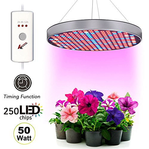 Indoor Greenhouse Kits - [2018 UPGRADED] Plant Grow Light 6 Bands Full Spectrum UFO 250 LED 50W Hanging Fixture Kit With 2/4/12H Timer Red/Blue/IR/UV/White Panel Hydroponic Bulbs For Greenhouse and Indoor Gardens