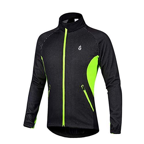 M Maniche Giacca Unisex A Invernale Ciclismo Antivento Gracorgzjs Cerniera Lunghe Green Con Per UBSfZ7x