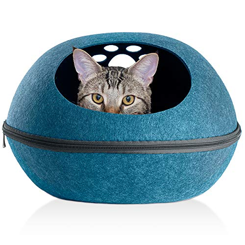 (FurHaven Pet Cat Furniture | Paw Print Cutout Felt Oval Pet Bed for Cats & Small Dogs, Heather Lagoon, One Size)