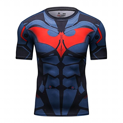 Red Plume Men's Film Super-Hero Series Compression Sports Shirt Skin Running Short Sleeve Tee (L, Bat -