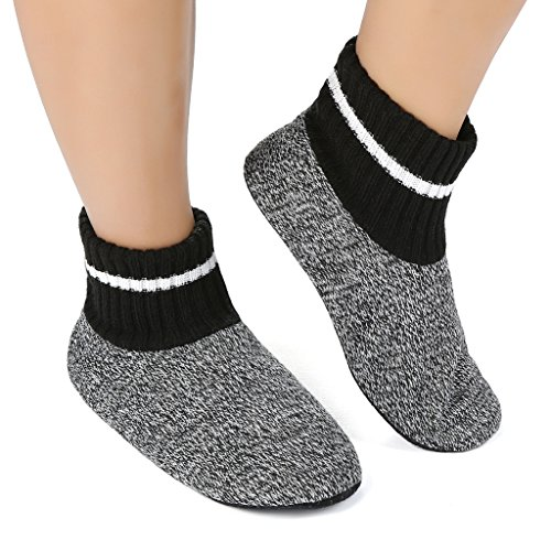 (Panda Bros Slipper Socks Soft Cozy Thick House Indoor Boot Sock Shoes with Anti-Skid Bottom Soles for Men's(strips,10-13))