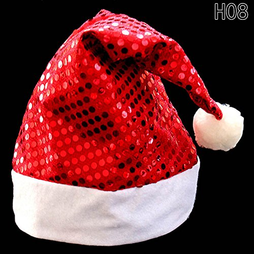 Celebration Sequin Hat (Chige Christmas Hat for Children and Adults, Non-woven New Hats for Celebrations and Recreation Photography Props for Party, Christmas, Gifts (Red sequins))
