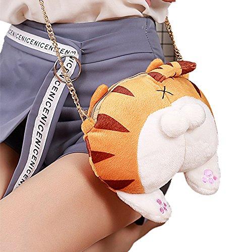 Cute Stuffed Plush Cat ass shoulder bag Soft KawaiiKitty SingleCrossBodyAnimal Kitten Butt Handbag (Tiger spotted ()
