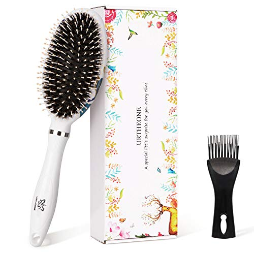 Hair Brush Boar Bristle Oval Paddle Hairbrush for Women Men Kids with Wet Dry Thick Thin Curly Long Short Hair, Detangling Brush for Straightening & Smoothing Hair