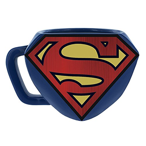 Paladone Superman Shaped Ceramic Coffee Mug - DC Comics Embossed Cup