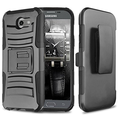 Galaxy J3 Emerge Case, Galaxy J3 Prime Case, Amp Prime 2 Case, Express Prime 2 Case, Galaxy Sol 2 Case, Galaxy J3 Mission Case, Galaxy J3 Eclipse Case, TJS Kickstand Belt Clip Holster (Black/Black)