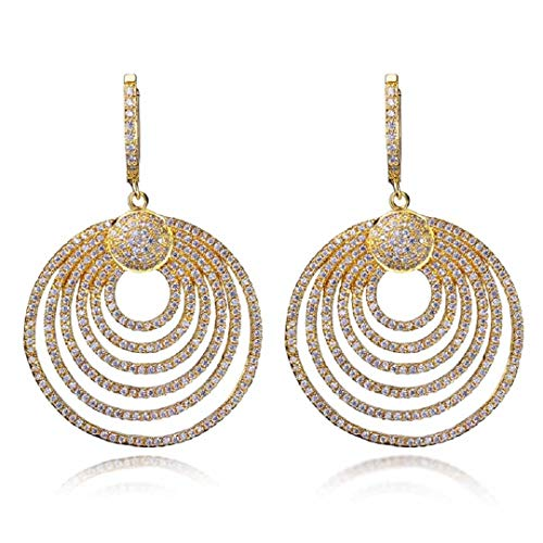 (Luxury Wedding Earrings Party Pave Setting CZ Handmade Jewelry Bridal Dangle Earrings For Women SE09249 Gold-color)