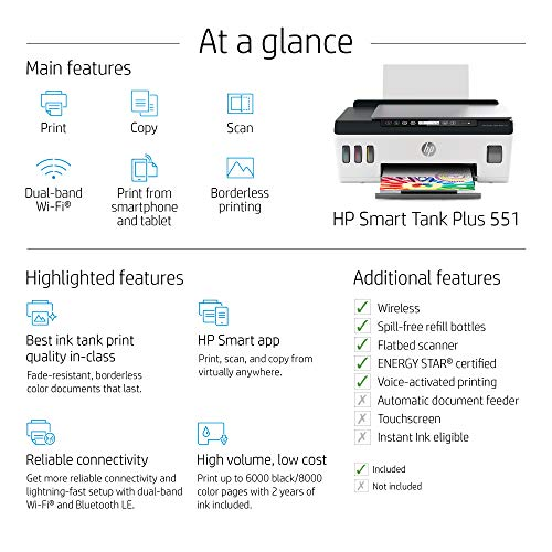 Hp Smart Tank Plus 551 Wireless All In One Ink Tank Printer Up To 2 Years Of Ink In Bottles Mobile Remote Print Scan Copy Works With Alexa 6hf11a