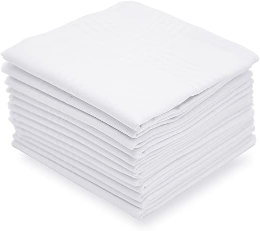 Selected Hanky Men/'s Handkerchiefs 100/% Cotton with Stripe White 12 Pack .. New