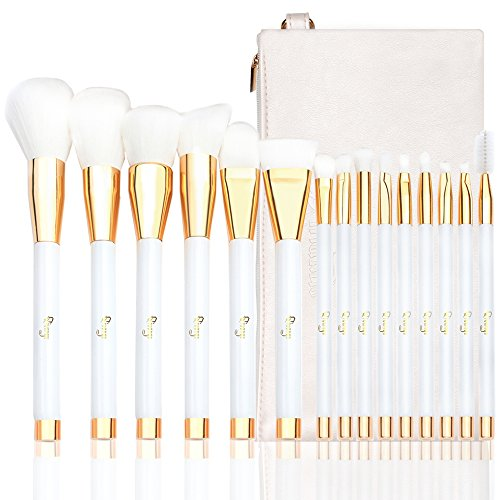 Qivange Brush Set, with Cosmetic Bag Synthetic Professional Makeup Brushes(15pcs, White With Gold)